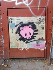 A little pink panda by 'orrible (Sa//y) Tags: graffiti art streetart spraycan stencil panda bristol