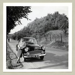 """Opel Olympia Rekord (Vintage Cars & People) Tags: vintage classic black white """"blackwhite"""" sw photo foto photography automobile car cars motor lady woman girl opel olympia rekord opelrekord opelolympiarekord economicmiracle wirtschaftswunder 1950s fifties vehicle road skirt scarf fashion"""