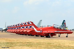 Red arrows line up J78A0004 (M0JRA) Tags: aircraft planes flying light clouds sky fields grass runways airports jets airshows riat props displays airforce