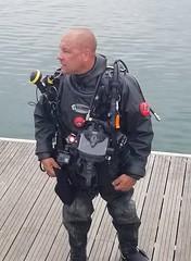 Safety diver on the deck (chemsuiter) Tags: safetydiver backupsupport supportdiver onthedeck divingevent drysuit