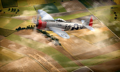 P - 47 Thunderbolt (brian_stoddart) Tags: aircraft flying flight landscape clouds vintage old aviation military