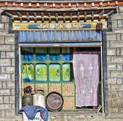 A window full of interest and colour (bag_lady) Tags: approved colourfulwindow decoration tibetan gyantse oldtown tibet windowfullofinterestandcolour