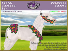 E-SparkleHorn-GarlandSet-Primrose-Cherry (honeyheart1) Tags: unicorn baby foal garland floral sparklehorn eliteequestrian horse sl secondlife