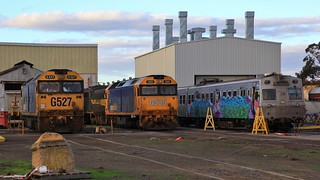 G527 A78 G525 and 296M stabled in SSR's North Bendigo Workshops