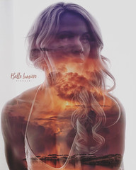 The calm and the storm (MrCes) Tags: glow burning sky red portrait woman silhouette