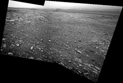 Slightly Better Visibility in Gale Crater (sjrankin) Tags: 21july2018 edited nasa mars msl curiosity galecrater sky haze duststorm rocks craterfloor panorama grayscale