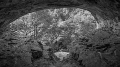 view from inside thirsts house cave b:w (Royston King) Tags: caves limestone thirsthousecave derbyshire rx10 monochrome