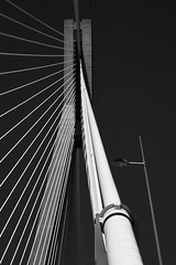 Rio–Antirrio Bridge (Thomas Mülchi) Tags: patras rio greece charilaostrikoupisbridge gulfofcorinth peloponnese antirrio bridge bw monochrome blackandwhite architecture blue bluesky clear clearsky sky sun sunny gr westerngreece 2017