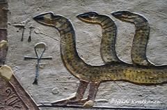 Snake with three heads (konde) Tags: amduat tomb ramsesiii 20thdynasty newkingdom kv11 valleyofthekings ancientegypt hautamaalaus deities divinity god goddess luxor thebes art afterlife relief hieroglyphs snake mythology ankh netherworld