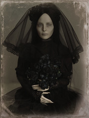 black bride (dolls of milena) Tags: bjd abjd resin doll orla phoenix bride black widow retro vintage portrait noir
