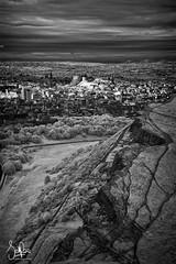 Edinburgh Castle catching the light (Scotty Rae) Tags: infrared bw blackwhite monochrome ir edinburgh edinburghcastle city sunlight midlothian arthursseat scotland lothian