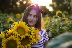 Environmental Portrait . Female (Elena Grigorieva) Tags: availablelight sungoesdown lowsun environmentalportrait dayout sunnyday sun goldenhour grigorievaphotography sunflowers field nikon beauty woman summer lights light warm hot summertime sunset portrait nikkor55300mm bokeh blurry background environmental outdoor girl smile happiness moments memories joy life live heart july day photographer makeup professional love feelings thoughtfulness