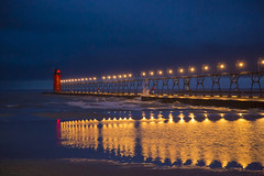 Pier Reflections (urolucas) Tags: evening beach reflection lakemichigan southhaven pier lighthouse