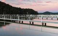 Wharf Reflections at Sunset (Merrillie) Tags: woywoybay nsw brisbanewater twilight wharf sunset brisbanewaternationalpark nature bay afternoon outdoors water australia centralcoast newsouthwales mountain