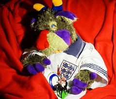 Maxi has an English shirt (Bl.Mtns.Grandma) Tags: weeklythemesworldcup2018england english football shirt chelsea horse guard