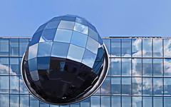 I I I 0 the egg 0 I I I (christikren) Tags: architecture blue christikren facade glass linescurves panasonic reflections sky vienna wien optic egg center columbus clouds kuppel