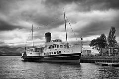 Maid of the Loch 02 (Alistair_Images) Tags: maidoftheloch blackandwhite mono balloch ship paddlesteamer boat lochlomond scotland olympus em10