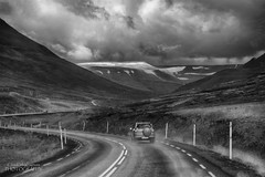 Challenging Conditions in Iceland (ChrisKirbyCapturePhotography) Tags: road ontheroad iceland akureyri challenging challengingconditions weather stormy clouds monochrome driving drive chriskirbycapturephotography