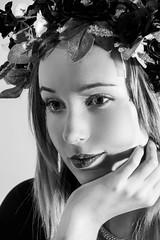 Mid Summer Princess (Sunderland Shutterbug) Tags: portrait mono bw blackandwhite studio nikon d3300 beauty girl woman women ella face blonde flowers leaves flickr smugmug contrast lady model
