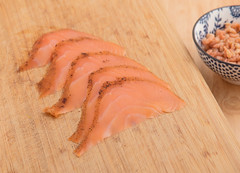 North Sea shrimp and smoked salmon. (annick vanderschelden) Tags: shrimp northsea northseashrimp wood bowl lazysusan ivory food fish decapod crustaceans animal decoation peeled raw tasteful flavour salmon smoked smokedsalmon citruspepper pepper cold salmonidae belgium