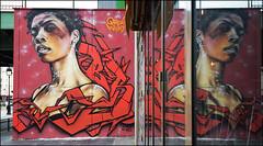 Brok   •  Akhine (feat. Neiiiz) (HBA_JIJO) Tags: streetart urban graffiti paris art france brok 3hc hbajijo wall mur painting alex letters aerosol peinture lettrage portrait reflection lettres lettring spray woman reflet urbain window figuratif ourcqlivingcolors akhine tnb red color