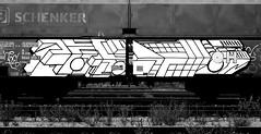 graffiti on freights (wojofoto) Tags: amsterdam nederland netherland holland cargotrain freighttraingraffiti freighttrain fr8 vrachttrein graffiti streetart wojofoto wolfgangjosten delta zwartwit monochrome blackandwhite
