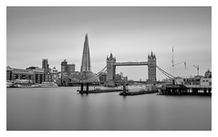 Towers (Robgreen13) Tags: london towerbridge riverthames hightide cityscape shard longexposure bw mono urban architecture