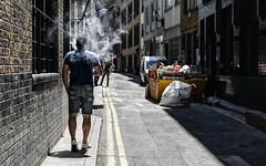 Side street smoker/vaper (PChamaeleoMH) Tags: beakstreet bleachbypass colorefexpro4 london nik smoking soho street