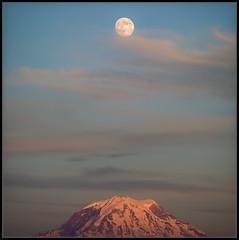 Line Dancing On A Full Moon (Ernie Misner) Tags: f8andmoondancing fullmoon moon tacomawa erniemisner mountrainier nikond810 nikon d810 linedancing lightroom nik topazstudio pscc capturenx2 cnx2