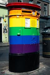 Deliver With Pride (Sean Batten) Tags: london england unitedkingdom gb europe soho postbox city urban nikon d800 35mm pride gaypride royalmail colors color