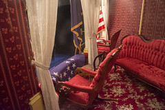 Booth's view (Tim Brown's Pictures) Tags: washingtondc fordstheater abrahamlincoln lincolnassasination presidentlincoln historic presidentsbox theater architecture building flags bunting interior rockingchair washington dc unitedstates
