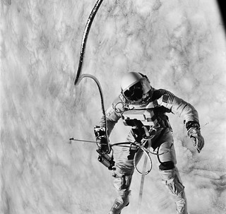 Astronaut Edward H. White II, pilot for the Gemini-Titan 4 (GT-4) spaceflight, floats in the zero-gravity of space during the third revolution of the GT-4 spacecraft.Original from NASA. Digitally enhanced by rawpixel.