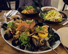 Hermosa seafood platter (garydlum) Tags: moretonbaybugs celeriac clams hermosa fennelsalad calamari mussels squid chermside queensland australia au