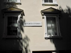 Hogarth Studios London UK (Jonathon Bennett Photos) Tags: hogarth painter londonstreet streetlife architecture signs shadow phaseone645 colour signage buildings phaseonep25 treesinshadow trees gloom