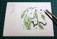 Map   Pencil & Ink Drawing   Work-In-Progress, 2017 (steveartist) Tags: maps imaginarymaps seaserpent fish ufo sasquatch sailboat submarine roads islands stevefrenkel bridge