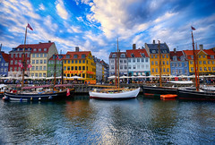 Colors at Nyhavn in Copenhagen, Denmark (` Toshio ') Tags: toshio copenhagen denmark europe european europeanunion nyhavn restaurants bar cafe boat tallship reflection clouds city colorful fujixt2 xt2