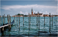 Postcard from Venice (kurtwolf303) Tags: 2018 italien stadt venedig venezia venice italy italia water boat city reflections spiegelungen buildings church kirche nikon nikond5500 kurtwolf303 sky clouds himmel wolken cityscape mare lagune kirchturm churchtower gebäude docks