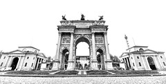 Arco della Pace (khrawlings) Tags: arcodellapace peace arch triumph napolean milan bw blackandwhite monochrome luigicagnola public architecture italy lombardy