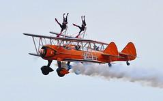SE-BOG (1) and N74189 (2) (goweravig) Tags: sebog 1 n74189 2 swanseaairport wnas18 visiting aircraft aerosuperbatics biplane wingwalkers boeing stearman kaydet swansea wales uk