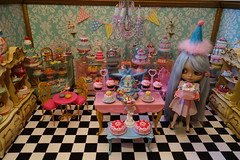 A visit to the French pastry shop! (Primrose Princess) Tags: ooakblythedoll customblythe pattyparisreroot alpacareroot smockeddress france french pastry shop bakery frenchpastryshop laduree macaron cupcake cake birthday party princess pink tea teaparty birthdaycake rement miniature diorama doll blythe