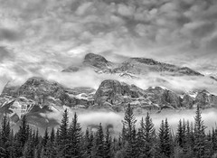 Misty Mountain Mood (Philip Kuntz) Tags: blackandwhite bw monochrome mtrundle fog banff alberta canada