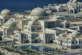 Presidential Palace as viewed (through a window) from the  74th floor of the Jumeirah, Abu Dhabi