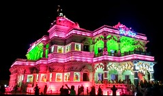 Prem Mandir (Love Temple) (gyaneshrai) Tags: temple love lovetemple india incredibleindia mobilephotography mi night colourful