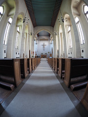 church interior (chrisinplymouth) Tags: church aisle plymouth devon england uk university catholic chaplaincy fisheye rc symmetry symmetrical building architecture roman city xg altar inexplore