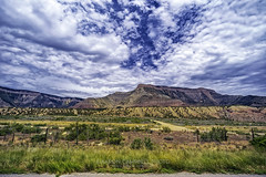 Roadside Landscape No. 01, 2015.07.14 (Aaron Glenn Campbell) Tags: unitedstates roadtrip excursion mesacounty rugged scrubbrush textures erosion nature parachute colorado family relatives rental toyota camry vehicles sky clouds summer overcast cloudy nikcollection viveza on1effects sony a6000 ilce6000 mirrorless rokinon 12mmf2ncscs wideangle primelens manualfocus emount
