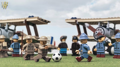 A Friendly Rivalry (Dread Pirate Wesley) Tags: lego moc airplane sopwith british biplane soldier world cup 1918 2018 soccer football wwi reims marne fighter