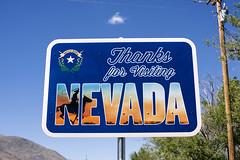 Thanks for Visiting Nevada (Curtis Gregory Perry) Tags: denio nevada sign thanks for visiting state line cowboy blue sky nikon d810 border