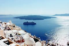 Santorini, Greece. (McGaggs) Tags: greece santorini thira boat cruise blue sea aegean cyclades island travel film scan white sky volcano