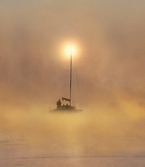 Sailing at Dawn (adrians_art) Tags: boat yacht craft sailing people sport riverthames water weather foggy misty sunrise dawn sky clouds silhouettes shadows reflections