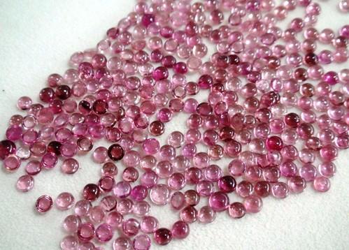 Natural Pink Tourmaline Round Cabochon Loose Gemstone